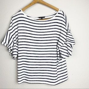 Banana Republic Striped Ruffle Sleeve Top XS